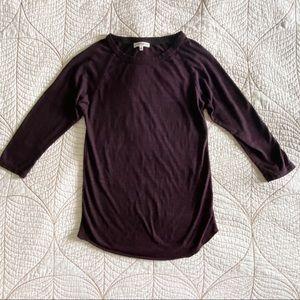 2/$30 Aritzia Community 3/4 Sleeve Purple T-shirt